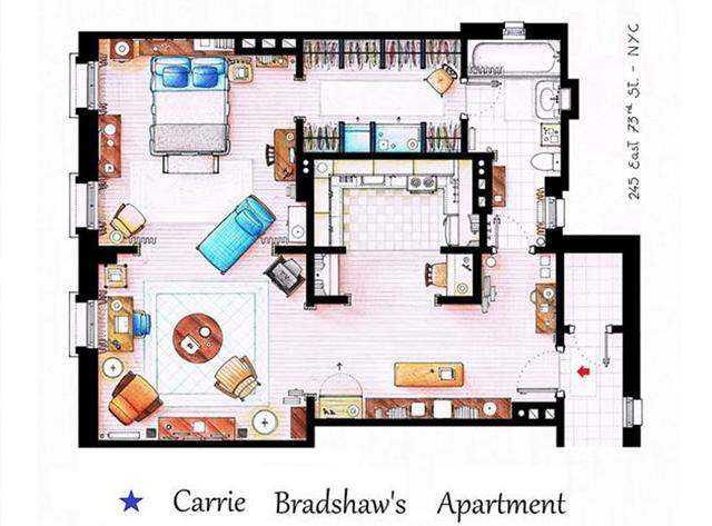 Carrie Bradshaw's apartment floor plan from Sex and the City. Image by Inaki Aliste Lizarralde.